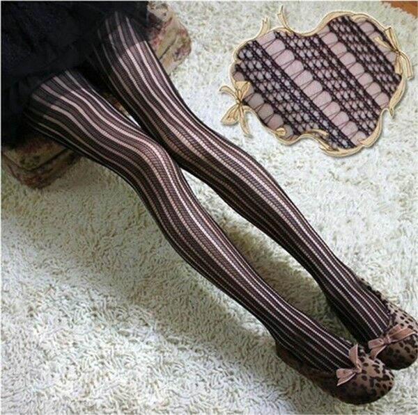 Sexy Women Lady Black Fishnet Pattern Jacquard Stockings Pantyhose Tights