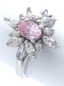 Vintage-Women-Ladies-Size-7-US-Rose-Quarts-Pink-Stone-Sterling-Silver-Ring-G552