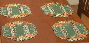 Fall Autumn Harvest Leaf  Design Table Placemat Set of 4