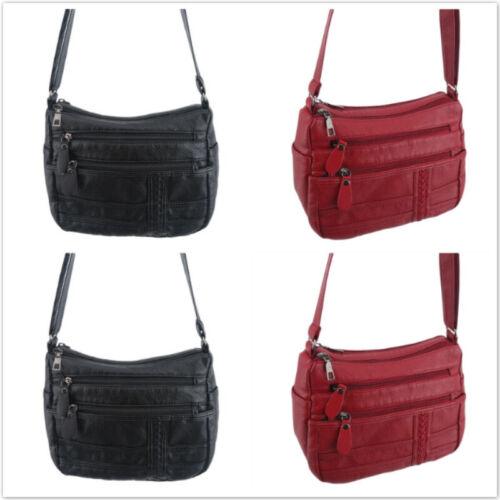 Womens Bag Faux Leather Multi Pocket Shoulder Bag Large Capacity Messenger SH