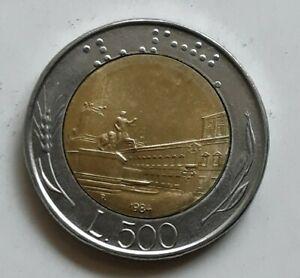 1984-Italy-L-500-Lira-Coin-Italiana-Europe