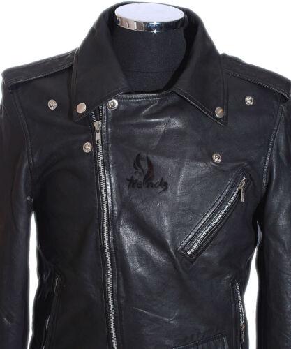 Noire hommes noir Slim Fit Brando style pour motard en cuir Veste fACPxgqg
