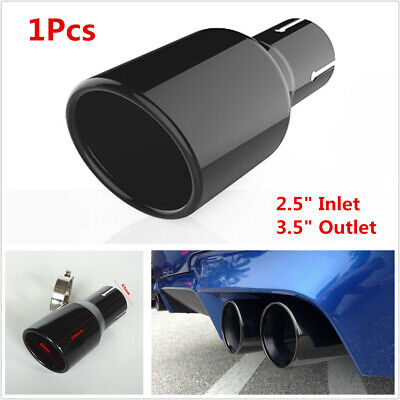 1pcs Car Exhaust 62mm inlet Tips Black Stainless Steel Muffler Pipe Universal