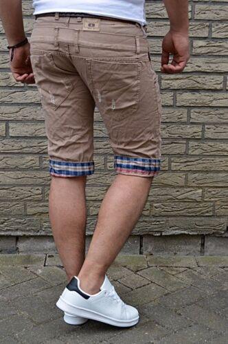 Metrodoubles POKET Jeans Short Stone Slavati Strappati karriert look denim Pantaloni corti