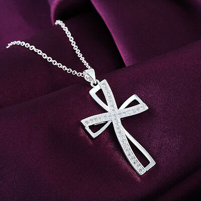 Beauty Female  Elegant Silver Plated Cross Pendant Chain Party Necklace