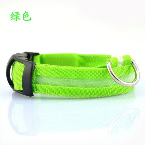 Nylon LED Pet Dog Collar Night Safety Flashing Glow In The Dark Dog Leash 6Color