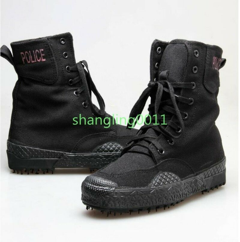Womens Retro Canvas High Top Lace Up Hiking Military Combat Mid Calf boots shoes