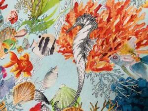 Corals Imprimé en Coton beige tissu Poissons Sea World vendu par mètre
