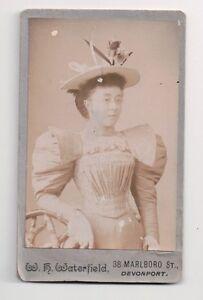 Vintage-CDV-Very-Elegant-Lady-Society-W-H-Warerfield-Photo-Devonport