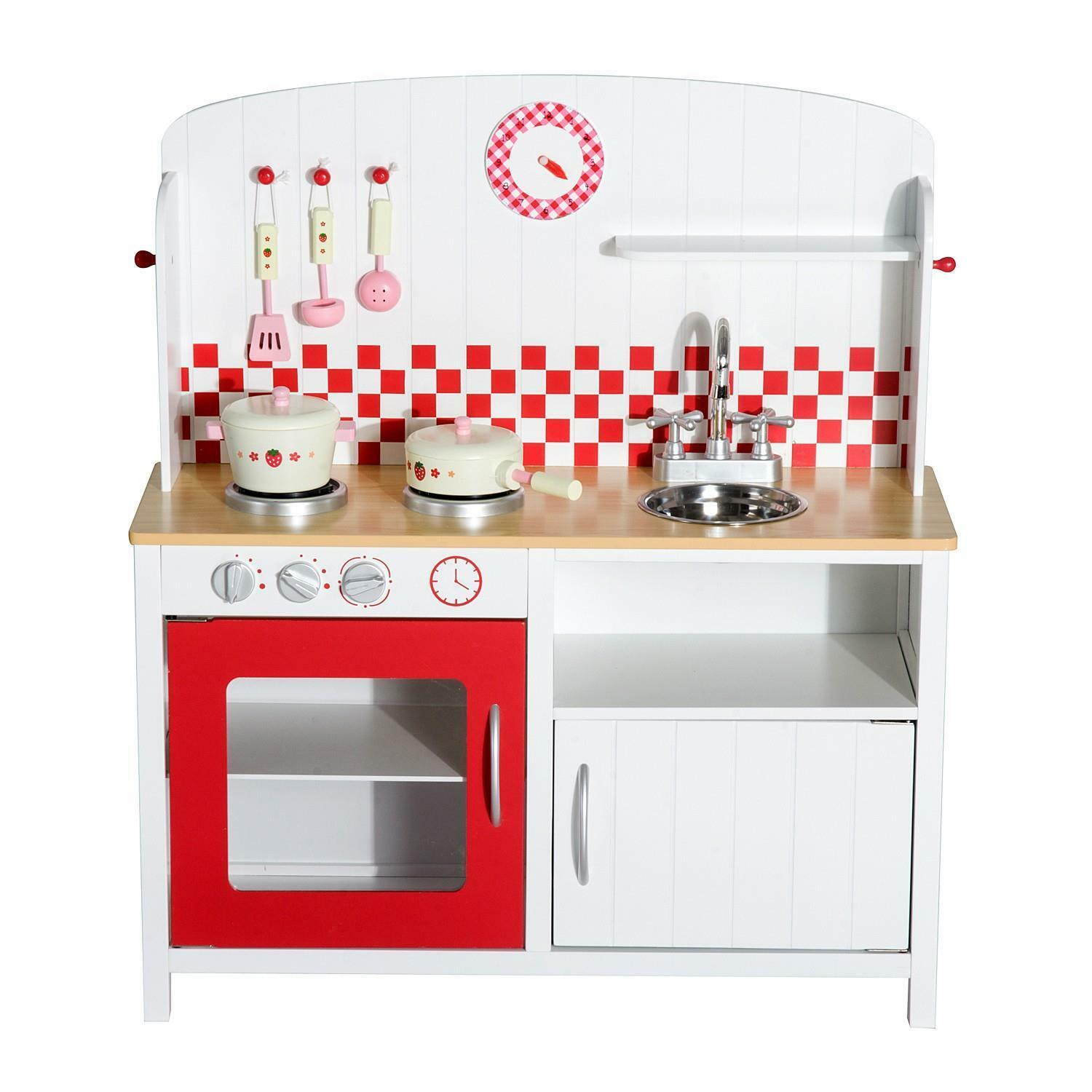 Kids Kitchen Kitchen Kitchen Role Play Set -White Red Wooden e8c608