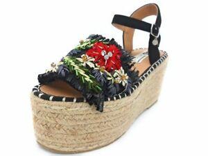 Dettagli su Sandalo sandali zeppa zeppe 06 Milano SCSA0681 da donna nero PE 2019