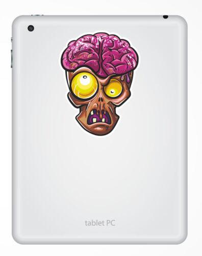 2 x Zombie Head Vinyl Sticker iPad Laptop Helmet Bike Car Skate Brain Boys #4642