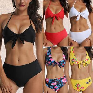 a9522da5610b3 Details about Women High Waist Bikini Set Push-up Padded Bra Brazilian Sexy  Swimsuit Swimwear
