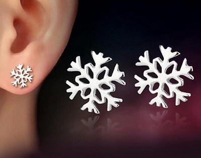 925 silver Snowflake earrings ear stud women jewelry Christmas gift
