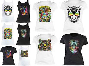 Tiger-Loewen-Motiv-Damenshirt-Wildkatzen-Kunstdruck-T-Shirt-bunter-Tiger-Neon