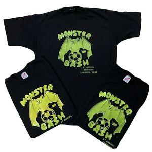 Vtg-Monster-Bash-1989-Bat-Shirt-Sz-Large-Lot-of-3-Black-Green-Tee