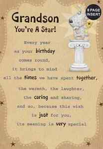 Image Is Loading GRANDSON YOURE A STAR BIRTHDAY CARD 8 PAGE