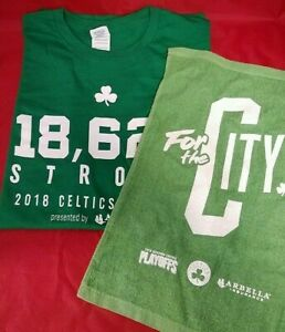 on sale 3a6e7 06ab9 Details about Boston Celtics 2018 NBA Playoffs St Patrick's Day XL T-Shirt  & Rally Towel Combo