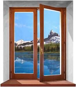 Sticker trompe l 39 oeil adesivo finestra sulle montagne dolomiti e lago ebay - Trompe l oeil finestra ...