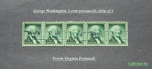 George-Washington-1-Cent-Precancel-Strip-of-5-Perrin-V-A-SC-1031-Free-Ship