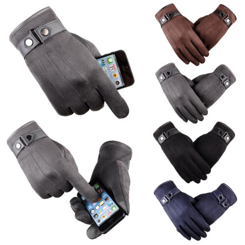 Men Women Winter Warm Suede Leather Fleece Lined Touch Screen Driving Gloves