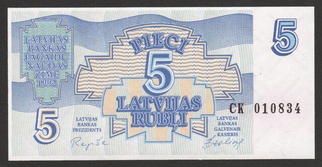 Latvia 5 Rubli 1992 UNC P#37