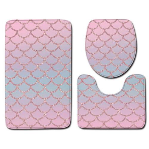 3PCS Anti-slip Bathroom Toilet WC Lid Cover Set Bath Contour Mat Carpet Rug New