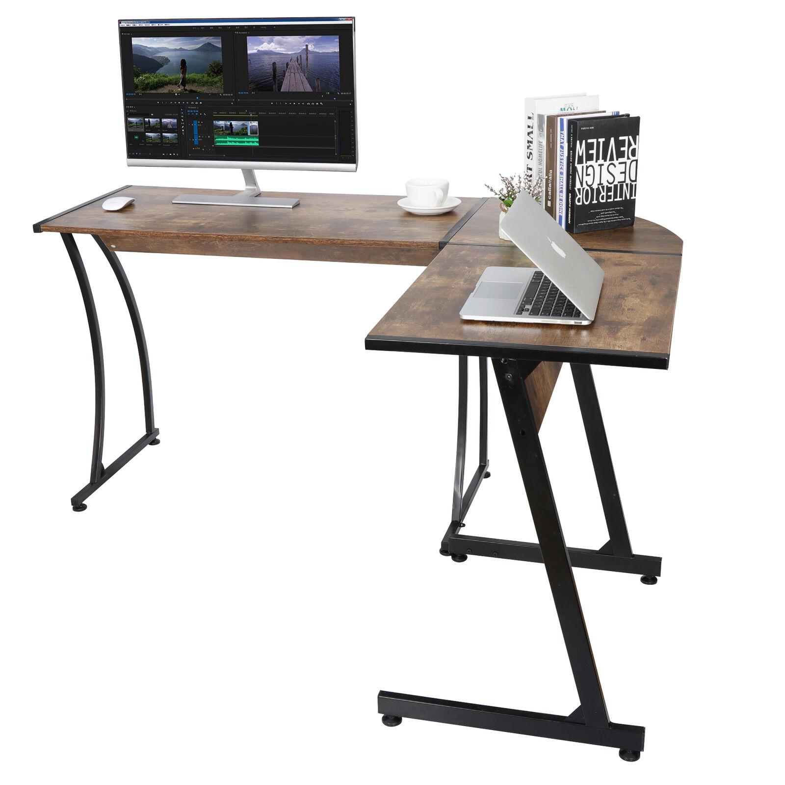Fineboard L Shaped Office Corner Desk 2 Side Shelves Black For Sale Online Ebay