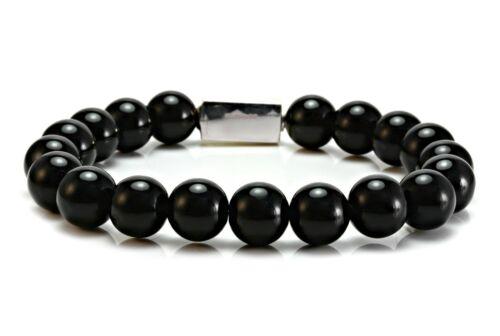 Mens Essential Onyx /& Sterling Silver Bead Bracelet-Mens Beaded Bracelet