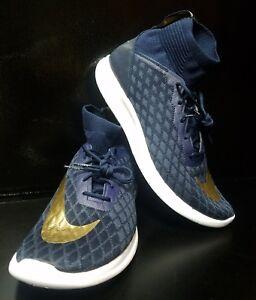 1b5641b2c56e3 Nike Free Hypervenom 3 FC Flyknit Shoes Navy Metallic Gold 898029 ...