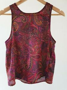 Quirky-Circus-Womens-Size-10-Casual-Multicolour-Paisley-Print-Summer-Tank-Top