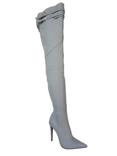 Grigio surbottes Stiefel Couture Stivali en cuir 45 Gris Ceinture mesure sur Cq Nouvelles wHqAPaP