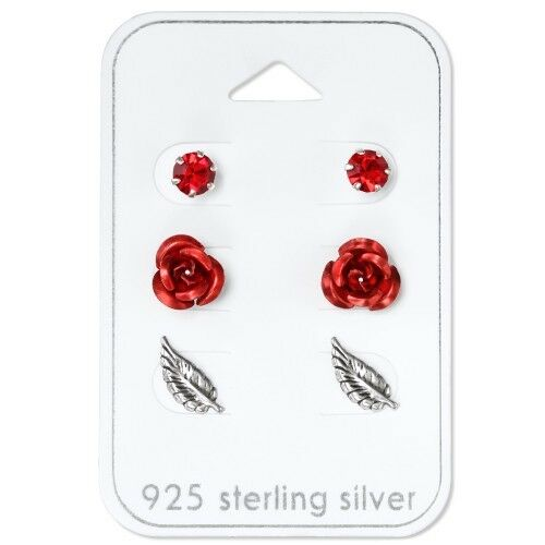 Pluma de plata esterlina 925 Cristal Rojo Rosa Pendientes Redondos Espárragos Set of 3 Red
