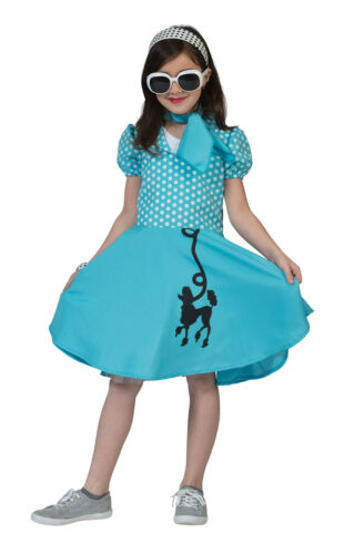 Yellow Blue Poodle Dress For Kids Fancy Dress 50s Costume #Girls Pink