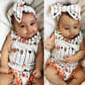 Arrow Newborn Baby Girls Cotton Bodysuit Romper Jumpsuit Headband Outfit Clothes