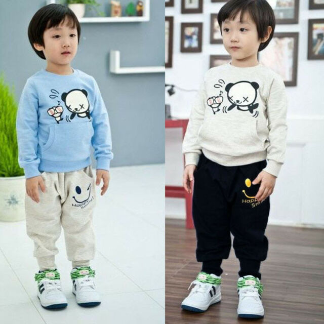 Fashion Child Boys Girls Smiling Pocket Faces Casual Cotton Harem Pants Trousers