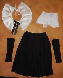 New-Pilgrim-Dance-Costume-Black-Skirt-Collar-Bonnet-Hat-and-Mitts-Girls-Int-Chld