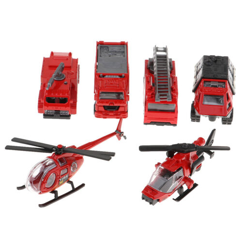 6Pcs Fire Engine Fire Rescue Series Car Truck Helicopter Model Toy Kids Gift