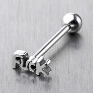 Stainless-Steel-Carved-Bad-Word-Labret-Tongue-Ring-14G-Barbell-Stud-Piercing