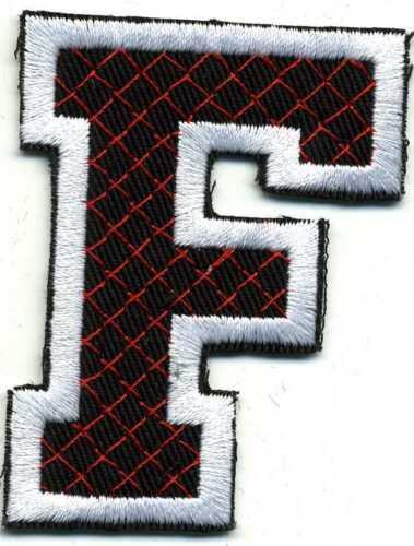 Aufnäher Applikation Stick-Emblem Buchstaben nähen 6x4 cm • Buchstabe F ☆21551☆