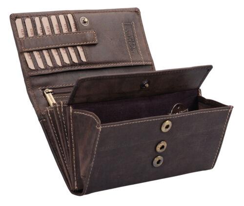 Damenbörse LEAS Langgeldbörse in Echt-Leder Portemonnaie dunkelbraun