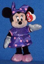 TY DISNEY MINNIE MOUSE PURPLE SPARKLE DRESS BEANIE BABY - MINT with MINT TAGS