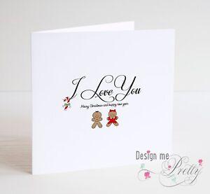 Very Cute Cookie Christmas Card I Love You Husband Wife Boyfriend Girlfriend Ebay
