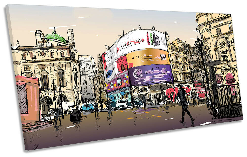 Picadilly Circus London Bild PANORAMIC CANVAS Wand Kunst Drucken Multi-Colourot