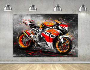 Leinwand Bild Honda Cbr1000rr Fireblade Repsol Motorrad Wandbild Kunstdruck Ebay