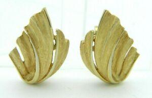 CROWN-TRIFARI-Gold-Tone-Feather-Mid-Century-Clip-Earrings-C