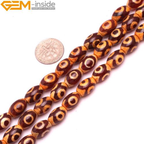 Antique Tibetan Agate Dzi Gemstone Olivary Rice Beads For Jewelry Making 8x12mm