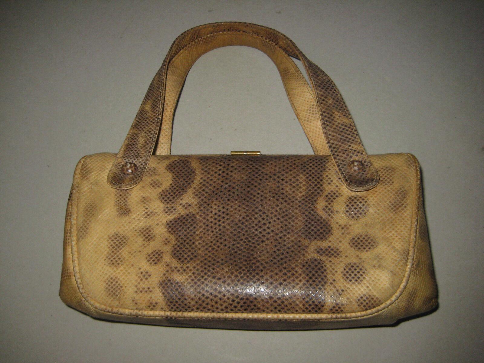 Damen Handtasche Tasche hell    braun Vintage  Leder Schlange Piton | Wirtschaftlich und praktisch  | Deutschland Outlet  | Economy  | Modernes Design  a1711b