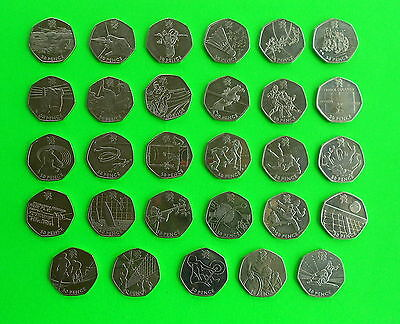 29 coins 50 pence Full set 2012 London Olympics + £2 pounds coin handover to RIO