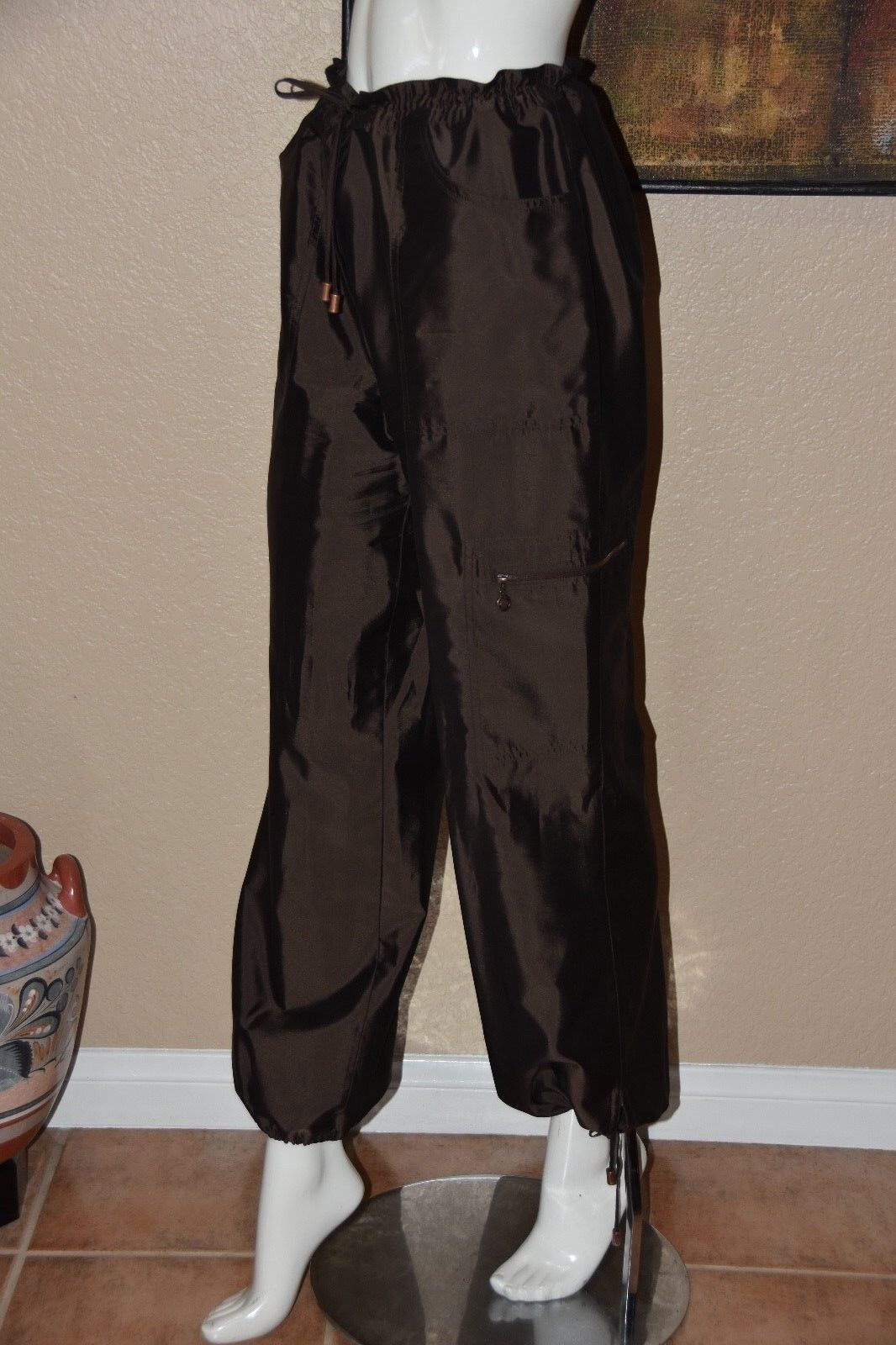 ESCADA Slouchy Ankle Tie Brown Silk Pant Size 42 12